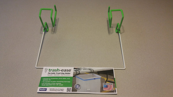 13 Gallon Trash-Ease Table Version WHITE frame  And GREEN rubber dip 05084