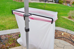 Trash Ease trash bag holder hangs on a tent pole. Tent pole version of this product.