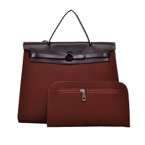 Brown and Black Leather Satchel Set