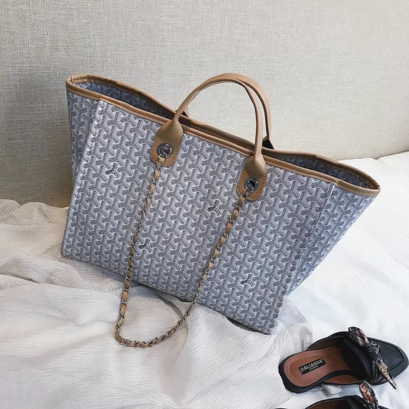 Grey Patterned Tote