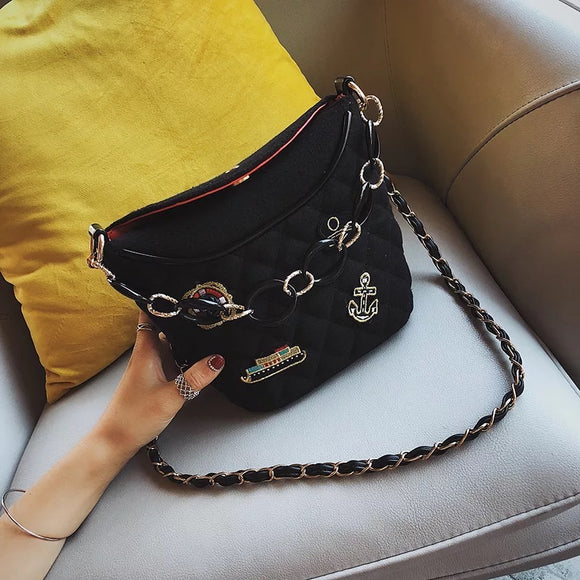 Small Bucket Bag with Chain