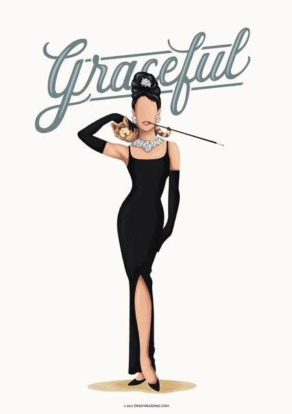 Audrey Hepburn Graceful Art Print - Draw Me a Song