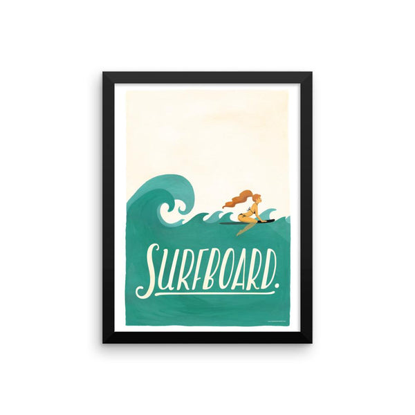 FRAMED Surfboard Art Print - Draw Me a Song