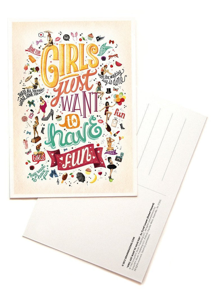 Girls Just Want To Have Fun Postcards - Draw Me a Song