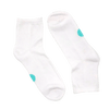 pair of white socks with blue dots