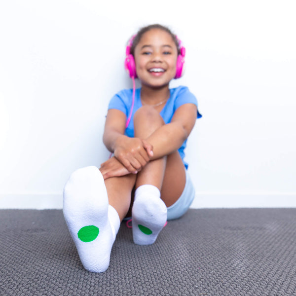 white socks with green dots for 8-10 year olds