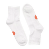 pair of white socks with orange dots for ages 10+