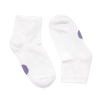 pair of white socks with purple dots