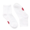 white pair of socks with red dots