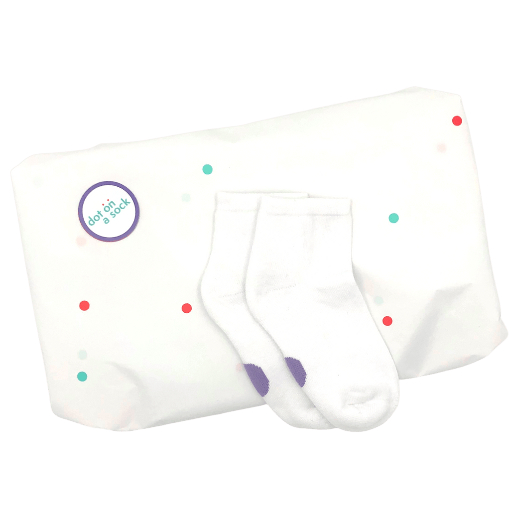 refill pack with five pairs of white socks with purple dots for 2-4 year olds