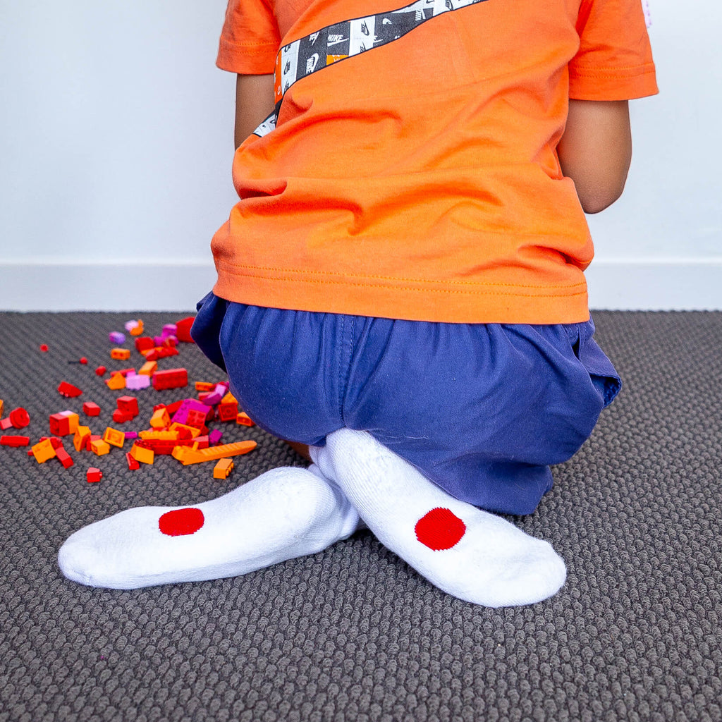 white socks with red dots for 5-7 year olds