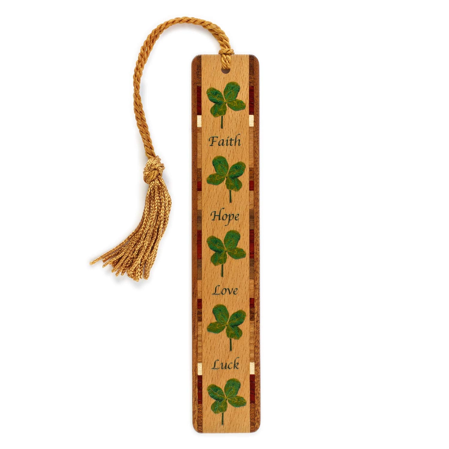 4 Leaf Clover (Faith, Hope, Love, Luck) Wooden Bookmark with Tassel