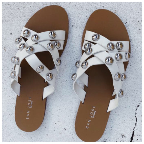 Ivy Stud Slides - White