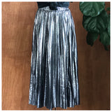 Greece Lightning Metallic Silver Pleated Skirt