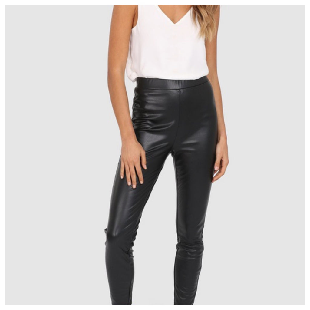 Lex Leatherette Pant - Black