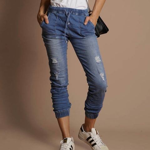 Zara High Waisted Distressed Jogger Jean