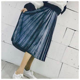 Oh Sandy Velvet Pleat Midi - Blue