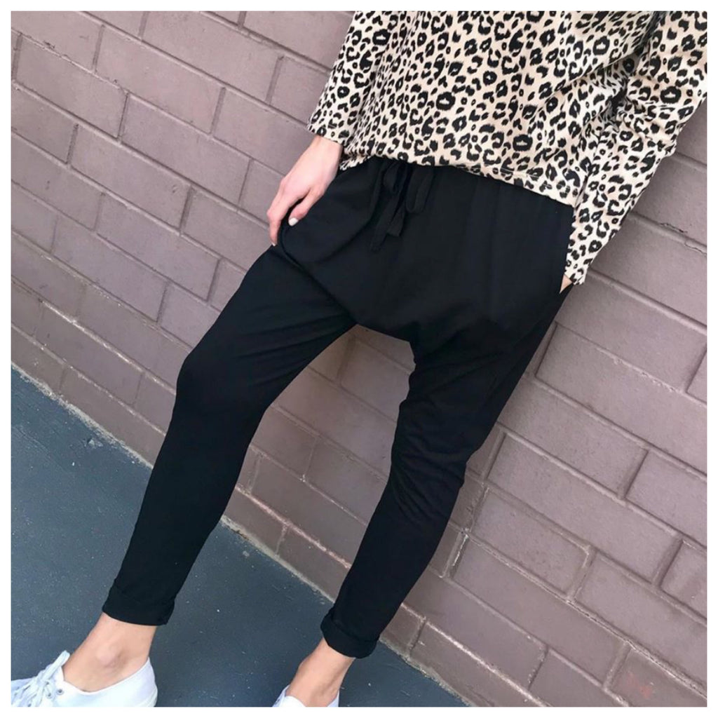 Drop Crotch Pants - Black