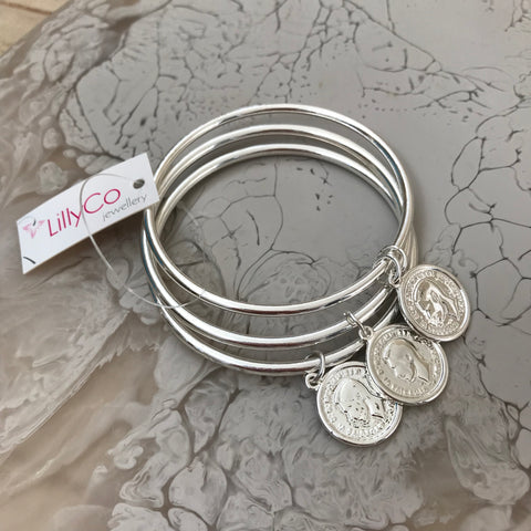 Pick Up A Penny Bangle Stack | SILVER