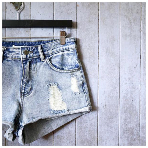 Frankii Distressed Denim Shorts