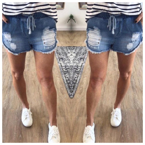 Denim Jogger Shorts