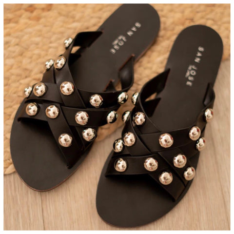 Ivy Stud Slides - Black