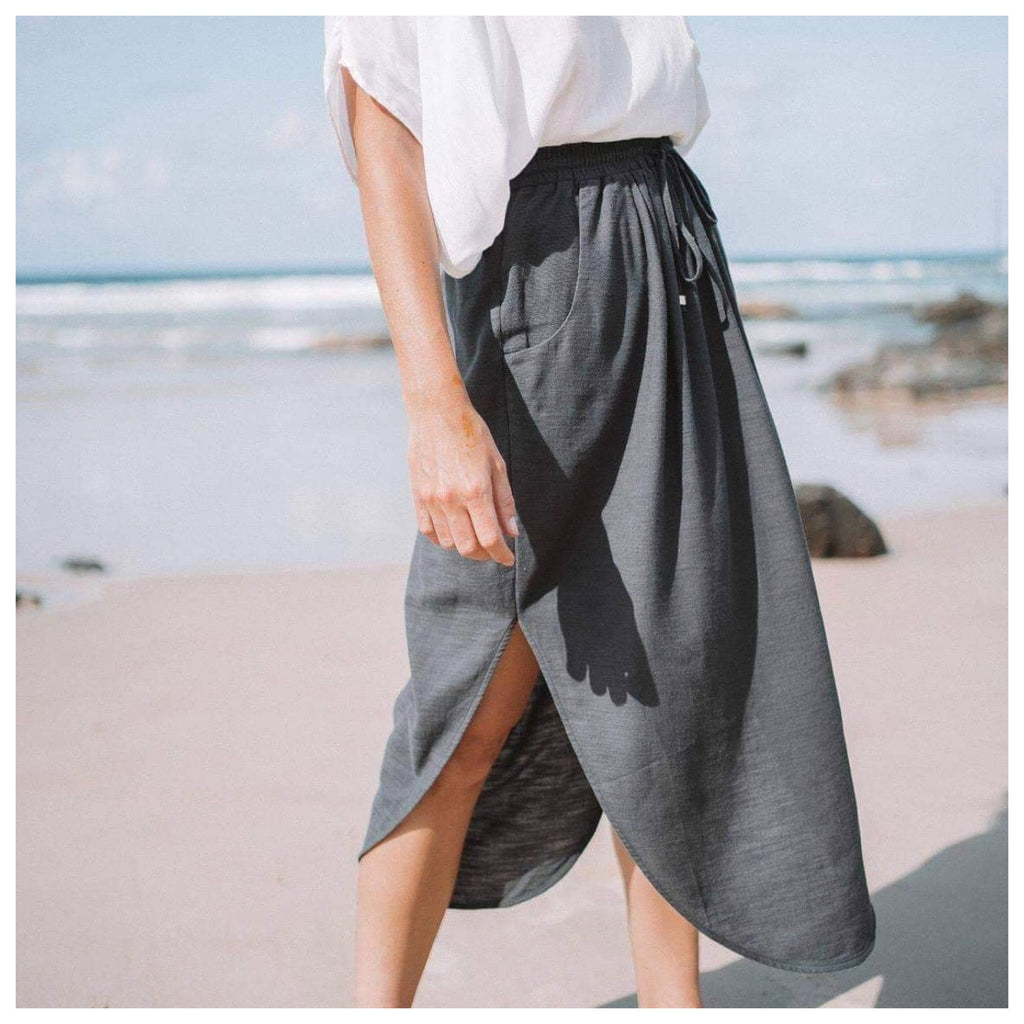Avalon Linen Skirt - Navy