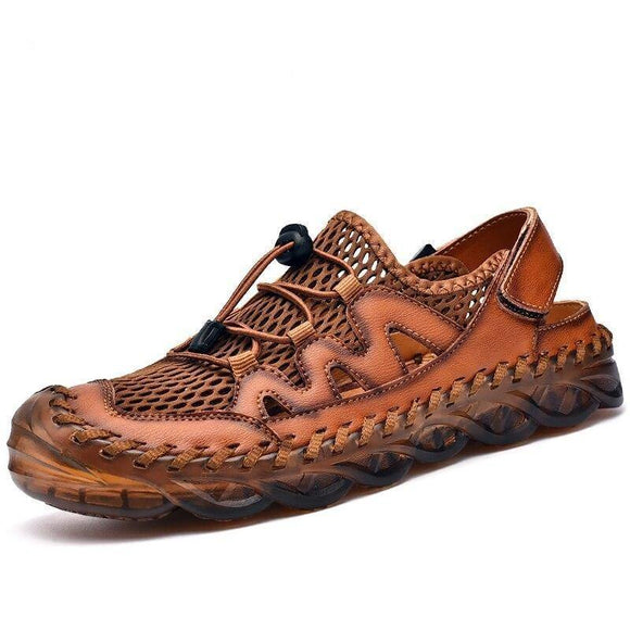 Summer Handmade Leather Mens Beach Sandals - Venice Streets Fashion online style Boutique