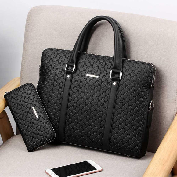 Men's Leather Business Briefcase - Venice Streets Fashion online style Boutique