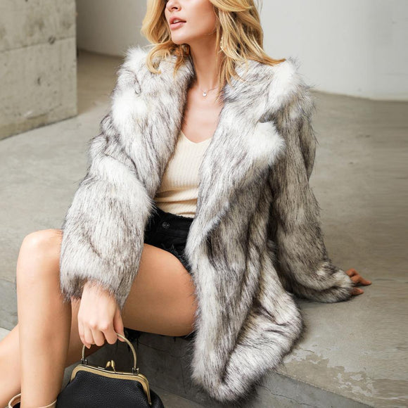 Mid-Length Regular Winter Loose Faux Fur Overcoat - Venice Streets Fashion online style Boutique