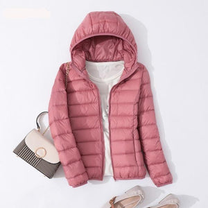 Winter Women Ultralight Thin Down Jacket White Duck Down Hooded Jacket - Venice Streets Fashion online style Boutique