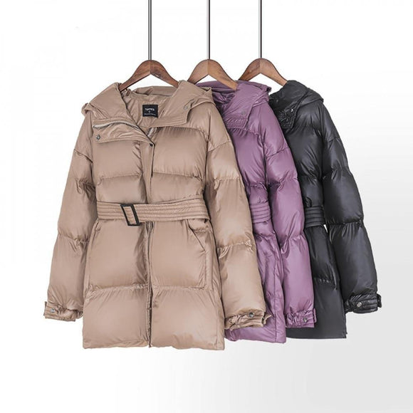 Belt puffer jacket oversized for women - Venice Streets Fashion online style Boutique