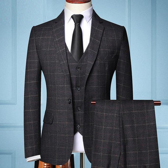 Three-piece Male Formal Business Plaids Suit for Men's - Venice Streets Fashion online style Boutique