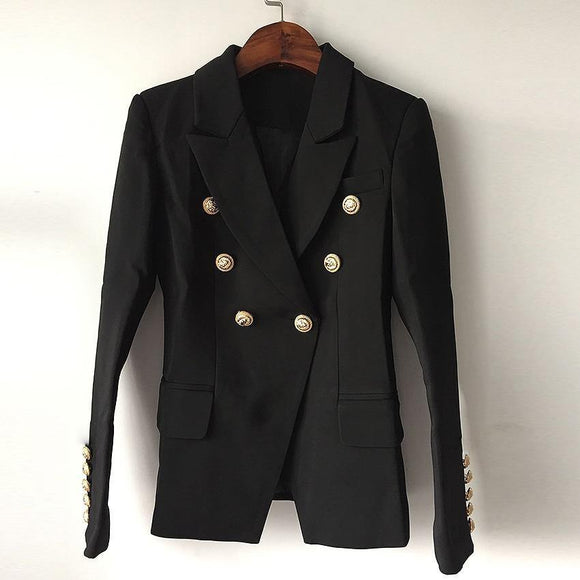 Top Quality Blazer Jacket Women's Double Breasted Metal Lion Buttons - Venice Streets Fashion online style Boutique