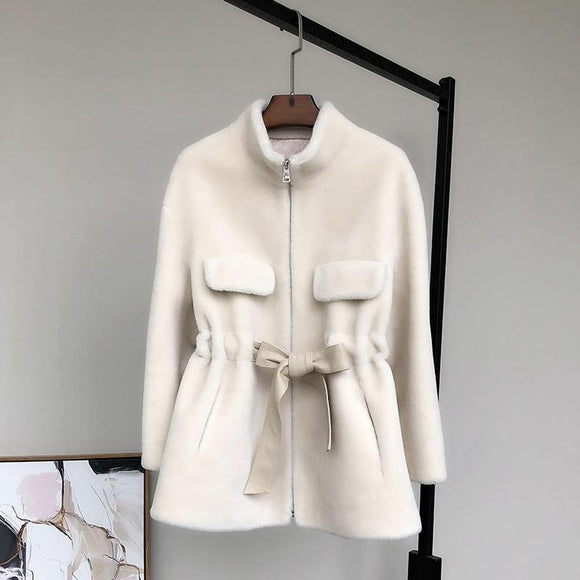 long sleeve sashes Winter teddy coat women - Venice Streets Fashion online style Boutique