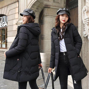 Long Parkas  Women Winter Solid Thick Hooded Cotton Jacket - Venice Streets Fashion online style Boutique