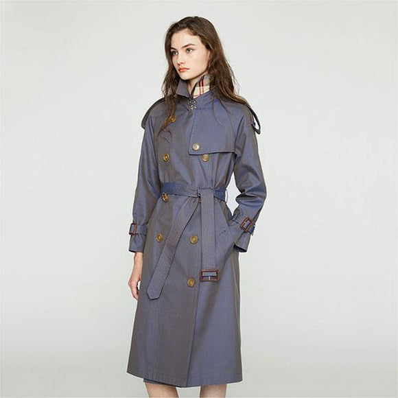 Women's Trench Coat Turn-Down Collar Double Breasted Full Sleeve Slim Style - Venice Streets Fashion online style Boutique