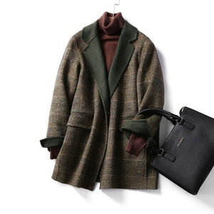 Hand-Stitched Wool Double-Sided Plush Coat Casual Cashmere - Venice Streets Fashion online style Boutique