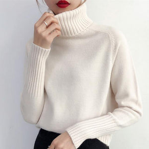 Winter Korean Cashmere Turtleneck Long Sleeve Pullover Female Jumper Knitwear - Venice Streets Fashion online style Boutique