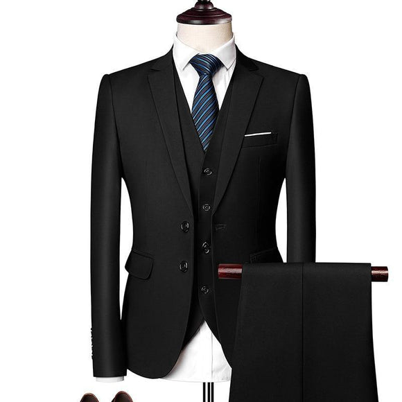 3 Piece Suit Handsome British Style Slimming Suit Groomsman's Wedding Dress - Venice Streets Fashion online style Boutique