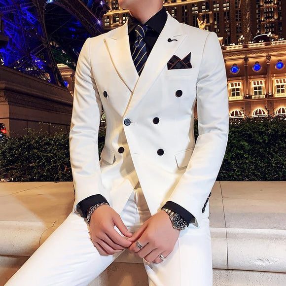 Korean Men's Wedding Suits 3-piece Luxury Double Breasted Solid Color - Venice Streets Fashion online style Boutique