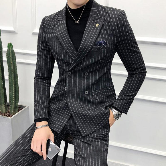 Slim Fit Double Breasted Men Suit (blazer+pants) - Venice Streets Fashion online style Boutique