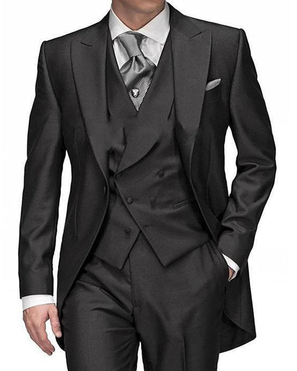3 Pieces Men's Suit Peak Lapel Gentleman Solid Regular Fit Tuxedo - Venice Streets Fashion online style Boutique
