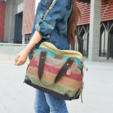 WOMEN CASUAL STRIPE CANVAS HANDBAG - Venice Streets Fashion online style Boutique