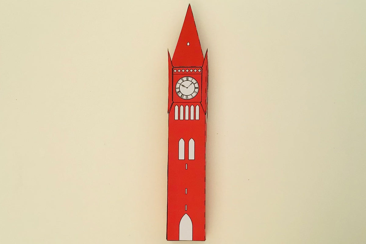 Paper model of Waterhouse's Darlington Clock Tower designed by Cabinet of Curiosity Studio for the Grand Constructions project, Darlington, UK 2021