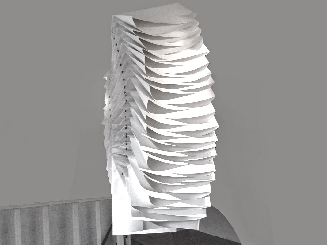 Monumental paper origami sculpture in Minnie Weisz Studio, King Cross, London, UK exhibited by Caroline Collinge of Cabinet of Curioity Studio within a solo exhibition A Picture Unfolds