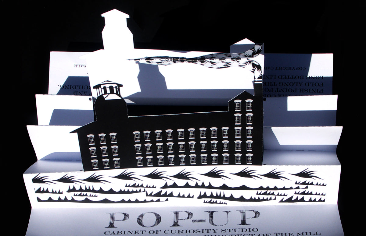 Architectural paper pop-up model of Derby Silk Mill made during a makers residency for Re:Make, Museum of Making at Derby Silk Mill , UK by Cabinet of Curiosity Studio
