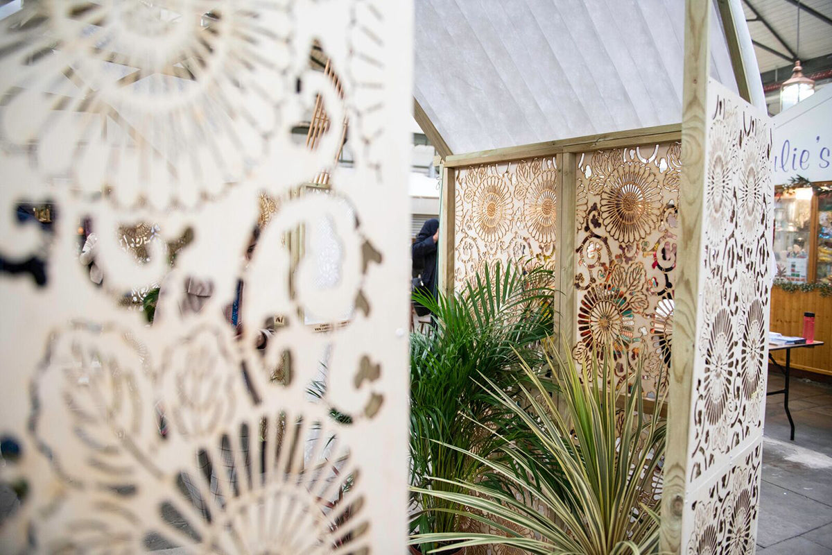 Laser cut Green House installation designed by Cabinet of Curiosity for Festival of Thrift Viewpoints