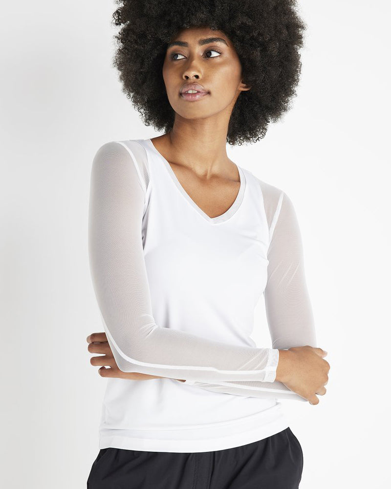 A modern wardrobe essential for travel and everyday.  Truly a must-have lightweight long-sleeve top crafted in super soft stretch jersey and power mesh  blend with elegant signature stretch power mesh sleeves and front and back panels. A sleek silhouette and V-neck front with mesh overlay make it a modern wardrobe essential for travel and everyday.