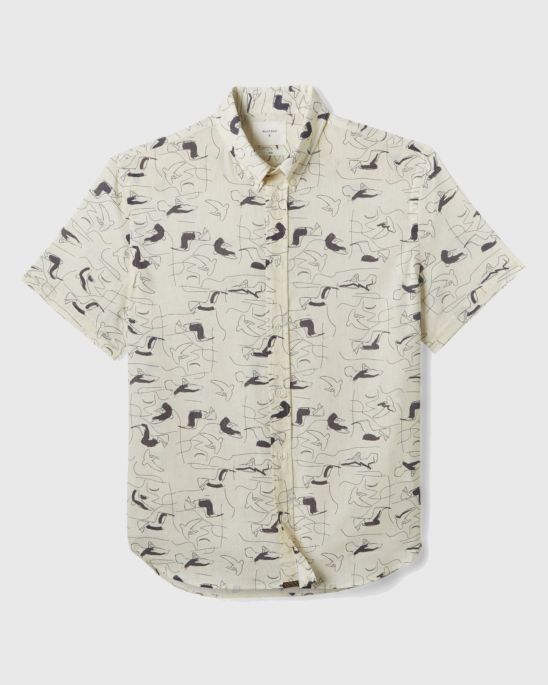 Billy Reid's casual Murphy shirt is a warm-weather essential, with a slim fit, button-down collar and clean, no-pocket silhouette. This version is made in Italy and features our custom Pencil Pad print, designed in-house at our Florence, Alabama studio, exclusive to Billy Reid, and inspired by our pelican motif.